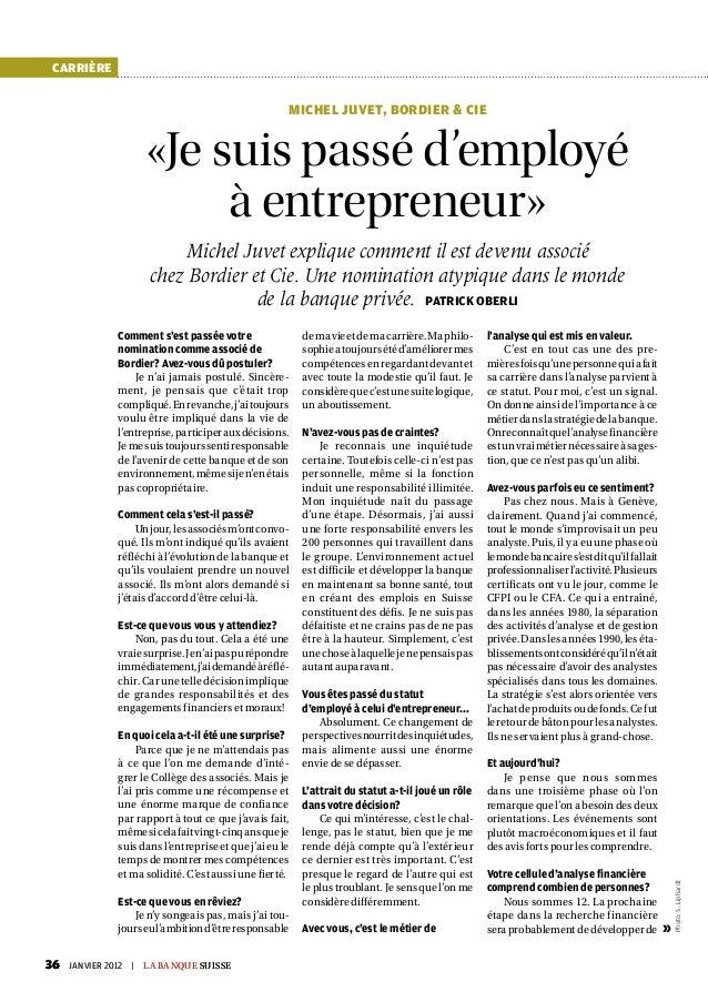 carrière                                                       Michel Juvet, Bordier & Cie                       «Je suis ...