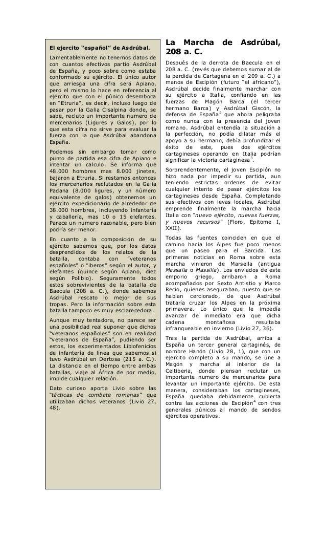 """La Marcha            de     Asdrúbal,El ejercito """"español"""" de Asdrúbal.                                           208 a. C..."""