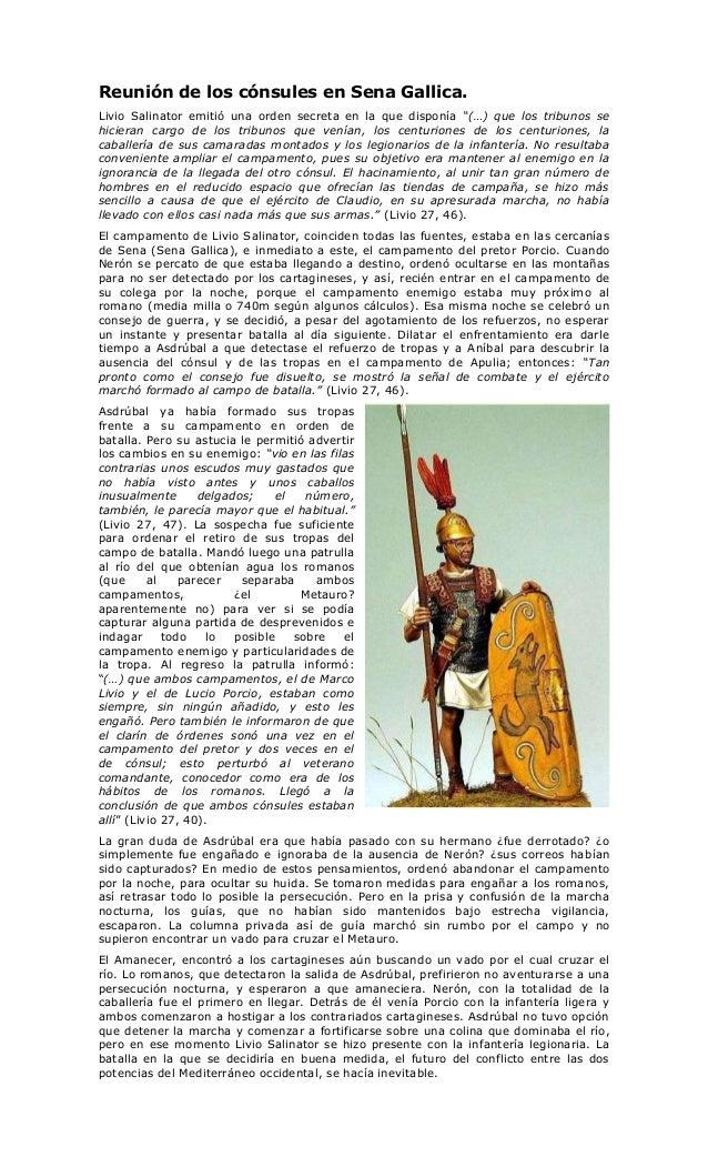 """Reunión de los cónsules en Sena Gallica.Livio Salinator emitió una orden secreta en la que disponía """"(…) que los tribunos ..."""