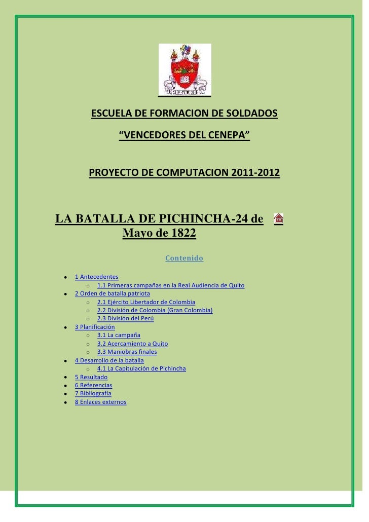 """ESCUELA DE FORMACION DE SOLDADOS <br />""""VENCEDORES DEL CENEPA""""<br />PROYECTO DE COMPUTACION 2011-2012<br />LA BATALLA DE P..."""