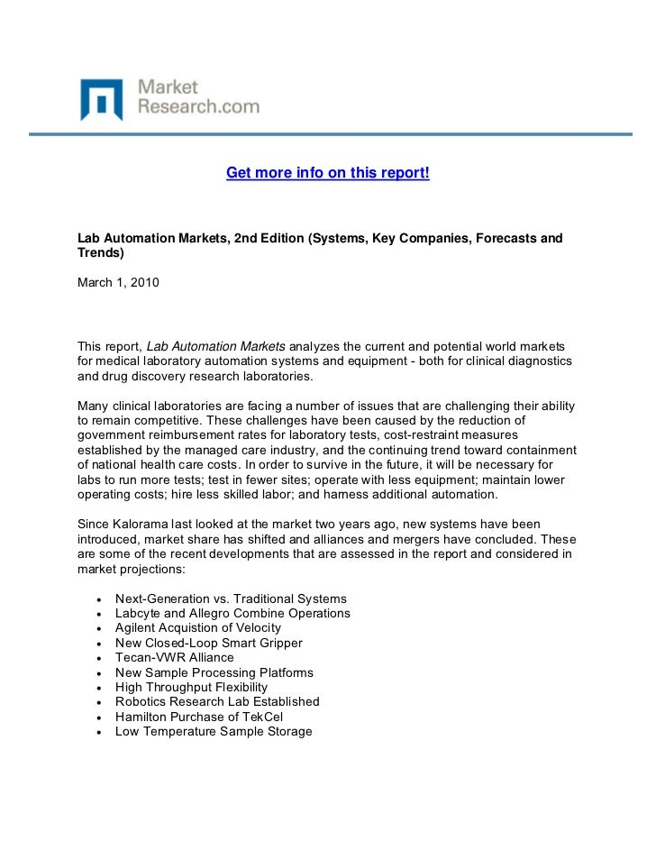 Get more info on this report!Lab Automation Markets, 2nd Edition (Systems, Key Companies, For...