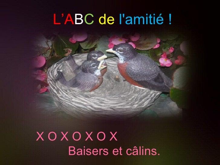 L'A B C   de   l'amitié ! X O X O X O X  Baisers et câlins.
