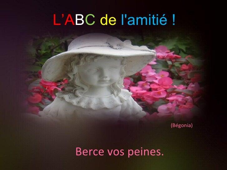 (Bégonia) Berce vos peines. L'A B C   de   l'amitié !