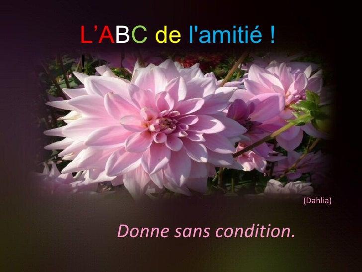 Donne sans condition. (Dahlia) L'A B C   de   l'amitié ! !