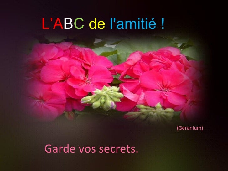 (Géranium) Garde vos secrets. L'A B C   de   l'amitié !