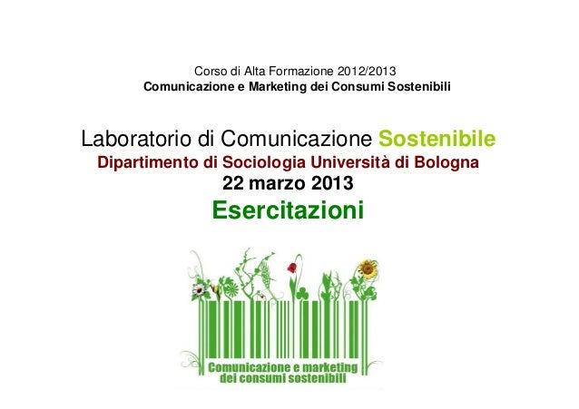 Corso di Alta Formazione 2012/2013 Comunicazione e Marketing dei Consumi Sostenibili Laboratorio di Comunicazione Sostenib...