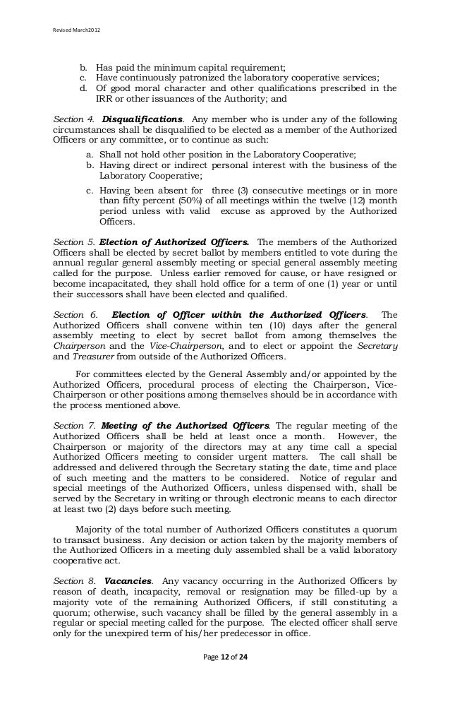 Laboratory Cooperative Article of Cooperation and By Laws Template