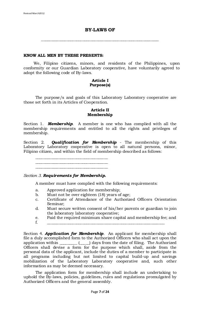 Laboratory Cooperative Article of Cooperation and By Laws Template – Corporate Bylaws Template