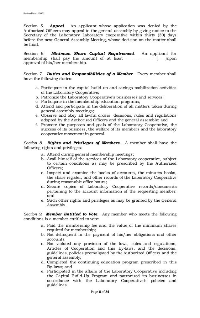 Laboratory Cooperative Article of Cooperation and By Laws