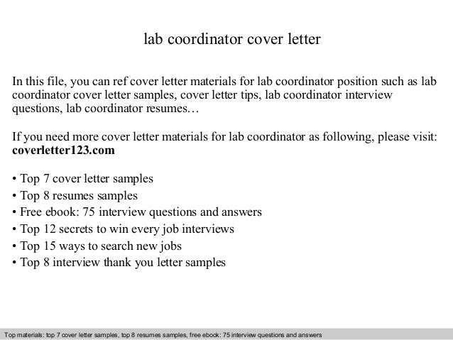 Lab Coordinator Cover Letter In This File You Can Ref Materials For