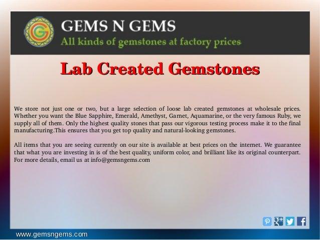 Lab created gemstones