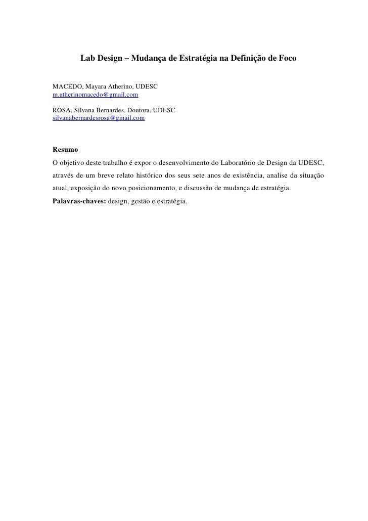 Lab Design – Mudança de Estratégia na Definição de FocoMACEDO, Mayara Atherino, UDESCm.atherinomacedo@gmail.comROSA, Silva...