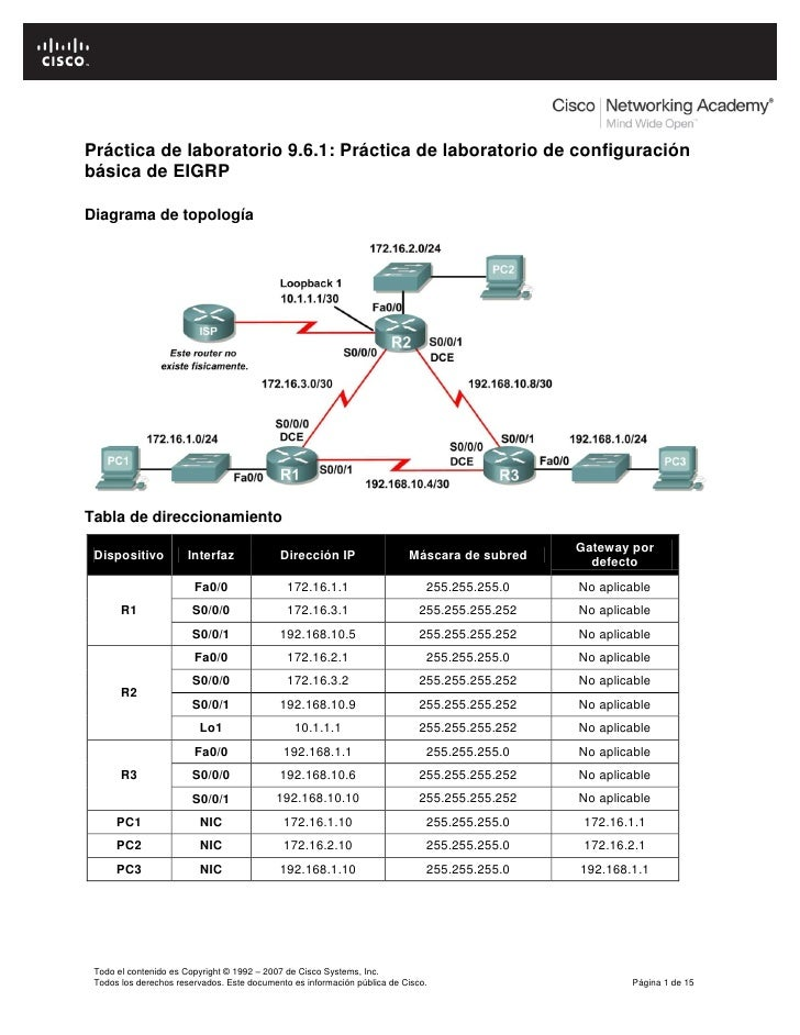 Práctica de laboratorio 9.6.1: Práctica de laboratorio de configuración básica de EIGRP  Diagrama de topología     Tabla d...