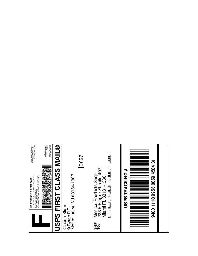 USPSFIRSTCLASSMAIL® USPSTRACKING# 9400111899560859458431 F 062S0007937451 FROM08054 08/22/2013 USPOSTAGE&FEESPAID 12OZFIRS...