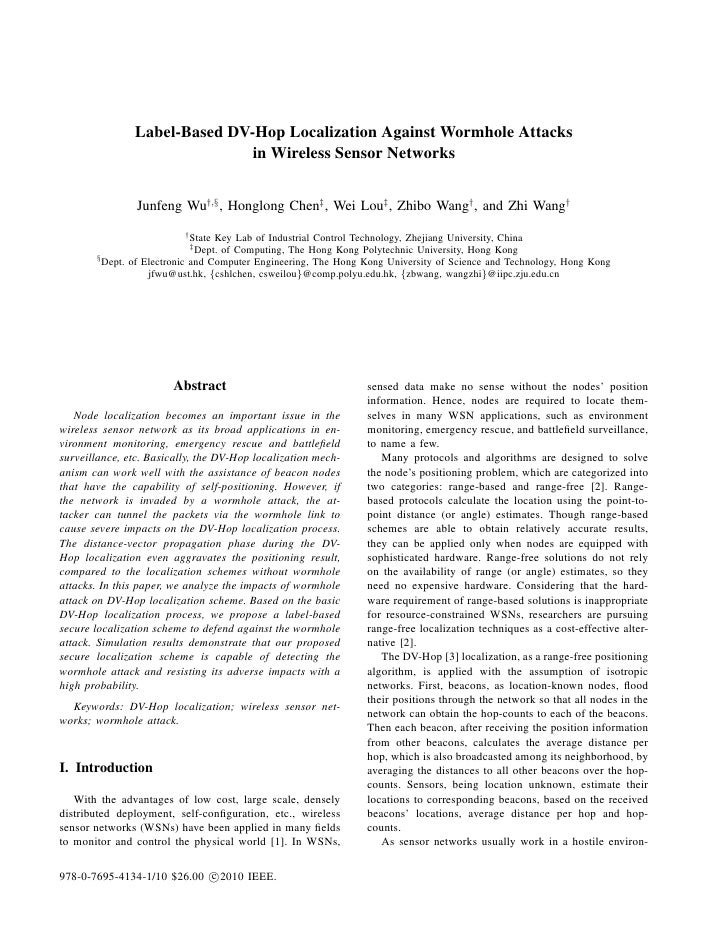Label-Based DV-Hop Localization Against Wormhole Attacks                              in Wireless Sensor Networks         ...