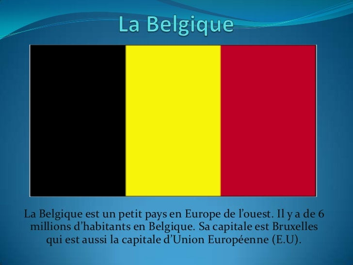 La Belgique est un petit pays en Europe de l'ouest. Il y a de 6 millions d'habitants en Belgique. Sa capitale est Bruxelle...
