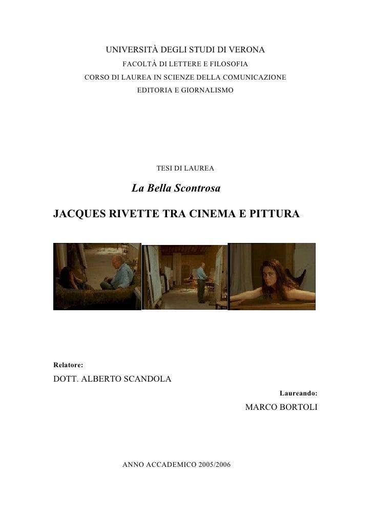 UNIVERSITÀ DEGLI STUDI DI VERONA                     FACOLTÀ DI LETTERE E FILOSOFIA             CORSO DI LAUREA IN SCIENZE...