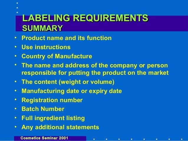 Labelling Requirements Cosmetics Seminar