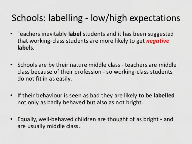 labelling in schools