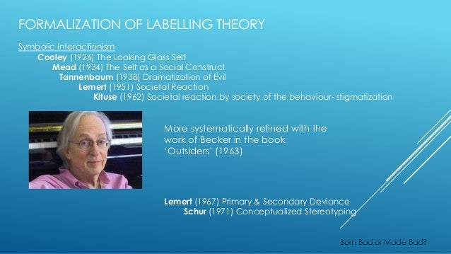 labelling theory In sociology, labeling theory is the view of deviance according to which being labeled as a deviant leads a person to engage in deviant behavior originati.