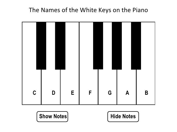 Show Notes Hide Notes The Names of the White Keys on the Piano D C E F G A B