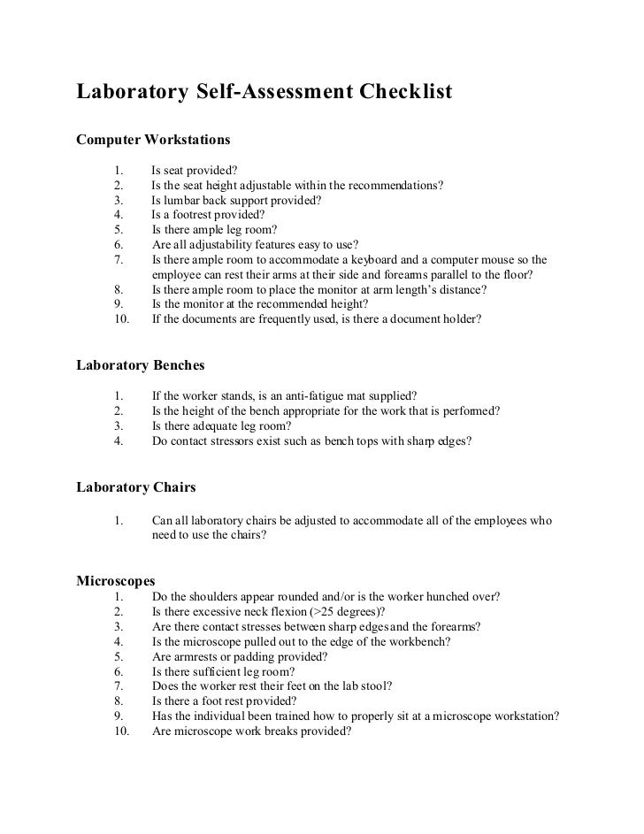 Laboratory Self-Assessment ChecklistComputer Workstations     1.    Is seat provided?     2.    Is the seat height adjusta...