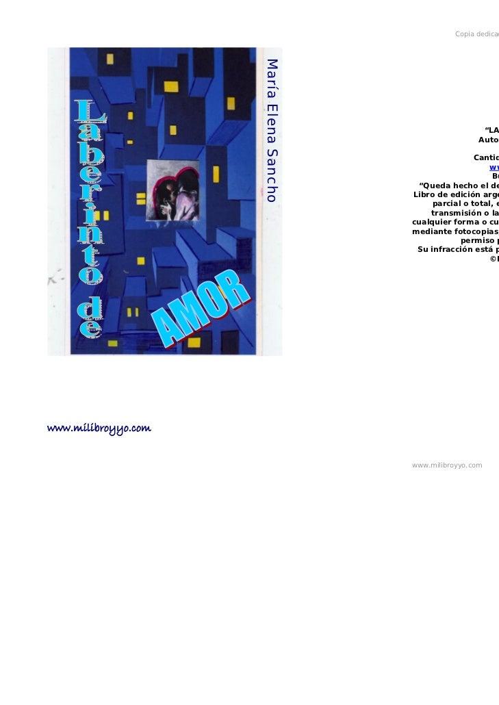 Copia dedicada a la Autora María Elena Sancho                     María Elena Sancho                                      ...