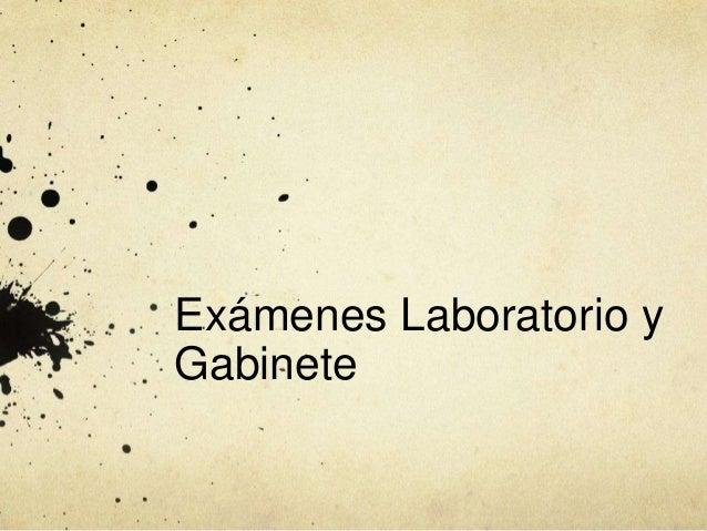 Exámenes Laboratorio y Gabinete