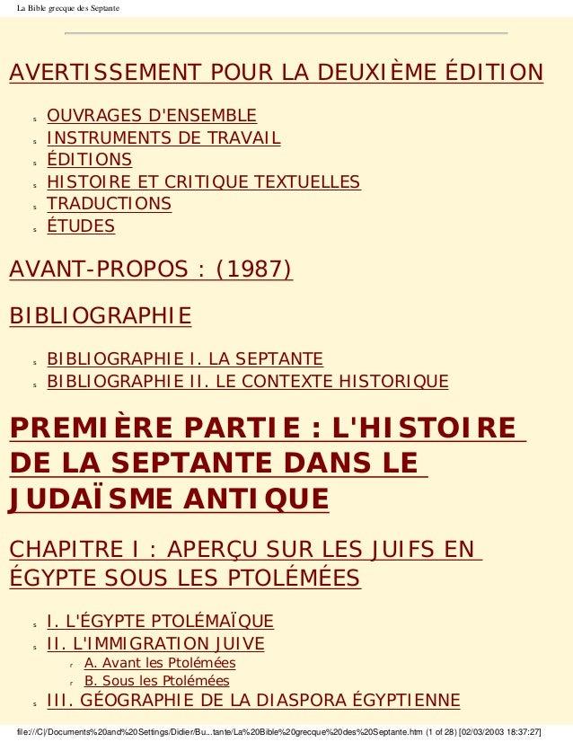 La Bible grecque des SeptanteAVERTISSEMENT POUR LA DEUXIÈME ÉDITION    s   OUVRAGES DENSEMBLE    s   INSTRUMENTS DE TRAVAI...