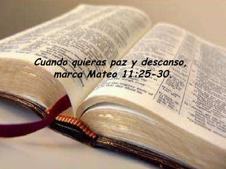 Cuando quieras paz y descanso, marca Mateo 11:25-30.