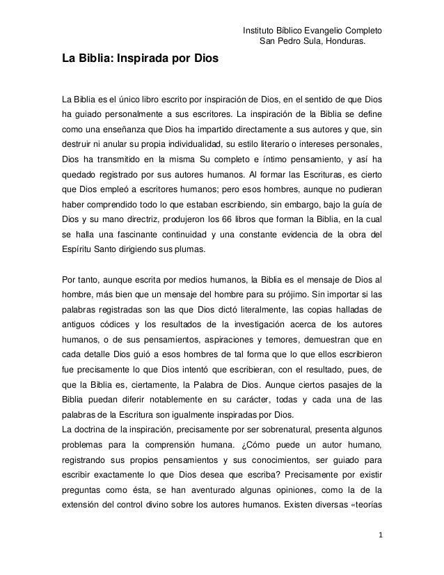 Instituto Bíblico Evangelio Completo                                                      San Pedro Sula, Honduras.La Bibl...