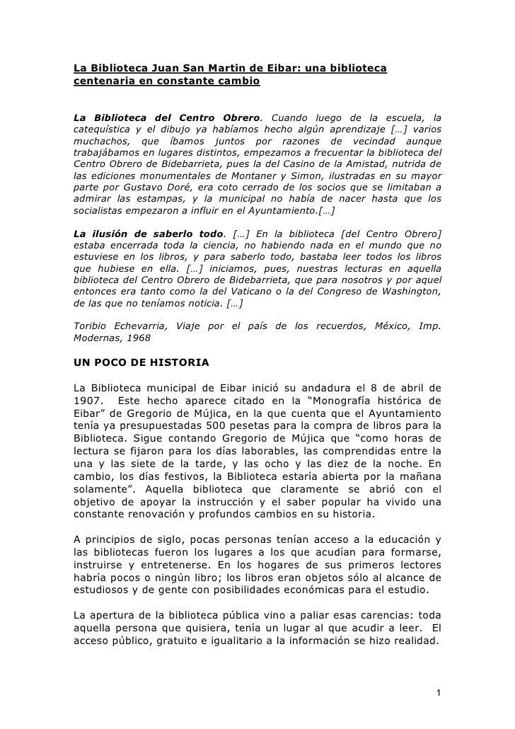 La Biblioteca Juan San Martin de Eibar: una biblioteca centenaria en constante cambio   La Biblioteca del Centro Obrero. C...