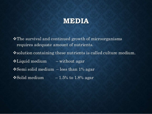 TYPES OF MEDIA Basal (simple) medium Generally used for the routine culture of microorganism. e.g.: Nutrient agar Select...