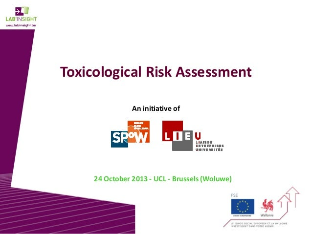 Toxicological Risk Assessment An initiative of  24 October 2013 - UCL - Brussels (Woluwe)  1