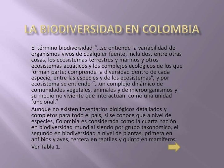 La biodiversidad  en colombia