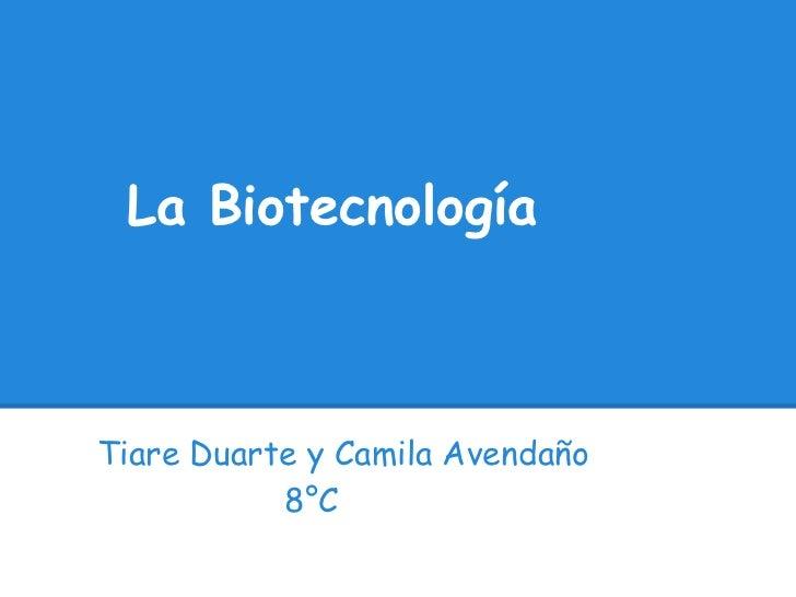 La BiotecnologíaTiare Duarte y Camila Avendaño           8°C