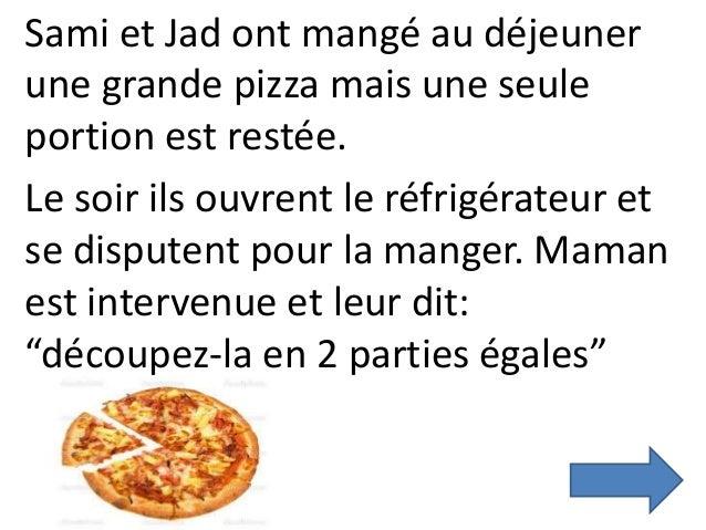 Sami et Jad ont mangé au déjeuner une grande pizza mais une seule portion est restée. Le soir ils ouvrent le réfrigérateur...