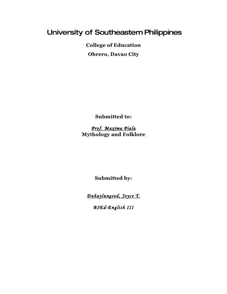 University of Southeastern Philippines            College of Education            Obrero, Davao City                   Sub...