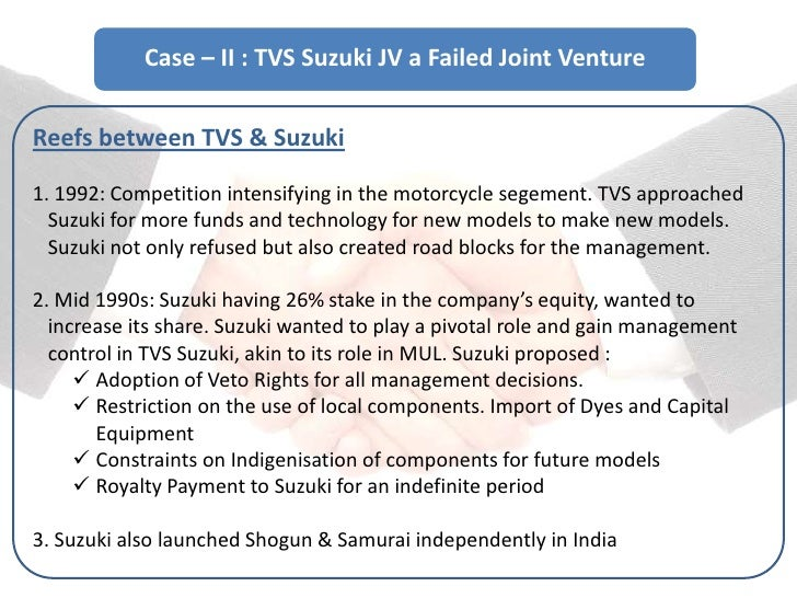 unsuccessful joint venture examples