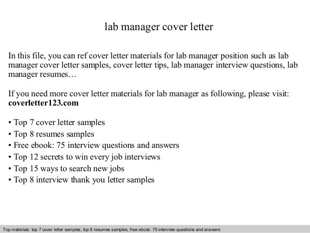 Lab Manager Cover Letter In This File, You Can Ref Cover Letter Materials  For Lab ...