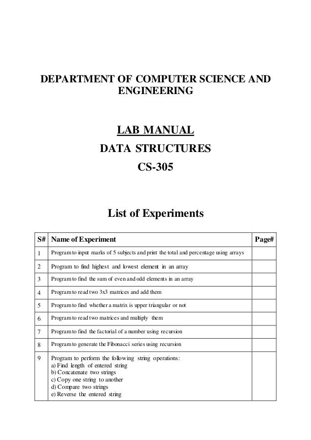 lab manual data structure cs305 rgpv usefulsearch org useful se rh slideshare net lab manual review chapter 3 thermodynamics lab manual rgpv