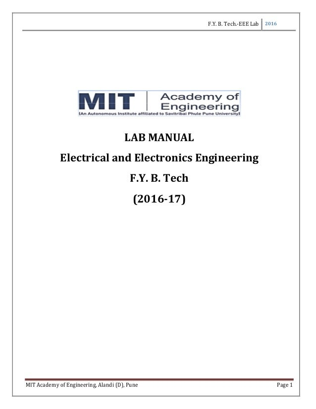 Lab Manual For Basic Electrical And Electronics Engineering