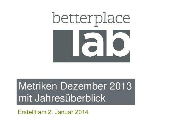 Metriken Dezember 2013 mit Jahresüberblick Erstellt am 2. Januar 2014