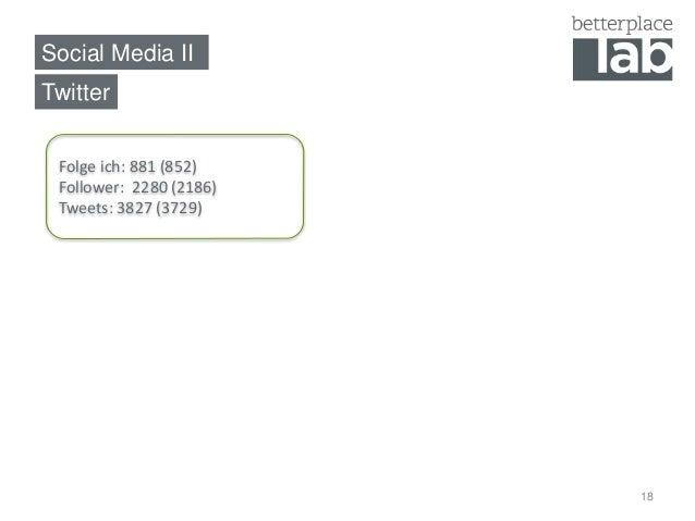 Social Media II  18  Twitter  Folge ich: 881 (852)  Follower: 2280 (2186)  Tweets: 3827 (3729)