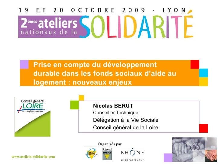 Nicolas BERUT  Conseiller Technique Délégation à la Vie Sociale Conseil général de la Loire Prise en compte du développeme...