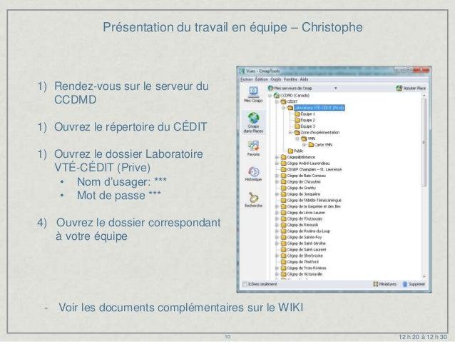 Présentation du travail en équipe – Christophe1) Rendez-vous sur le serveur du   CCDMD1) Ouvrez le répertoire du CÉDIT1) O...