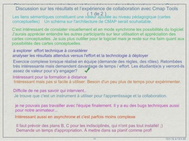 Discussion sur les résultats et l'expérience de collaboration avec Cmap                                   Tools           ...