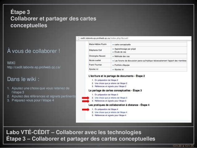 Étape 3  Collaborer et partager des cartes  conceptuellesÀ vous de collaborer !WIKIhttp://cedit.labovte.ep.profweb.qc.ca/D...