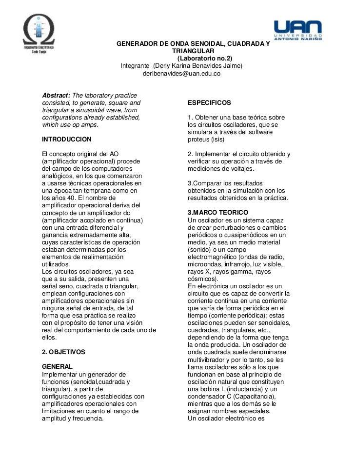 GENERADOR DE ONDA SENOIDAL, CUADRADA Y                                             TRIANGULAR                             ...