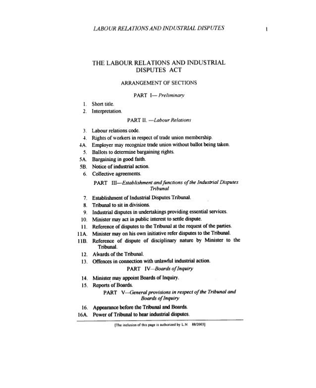 LAB0 UR RELATIONS AND INDUSTRIAL DISPUTES  THE LABOUR RELATIONS AND INDUSTRIAL DISPUTES ACT ARRANGEMENT OF SECTIONS  PART ...